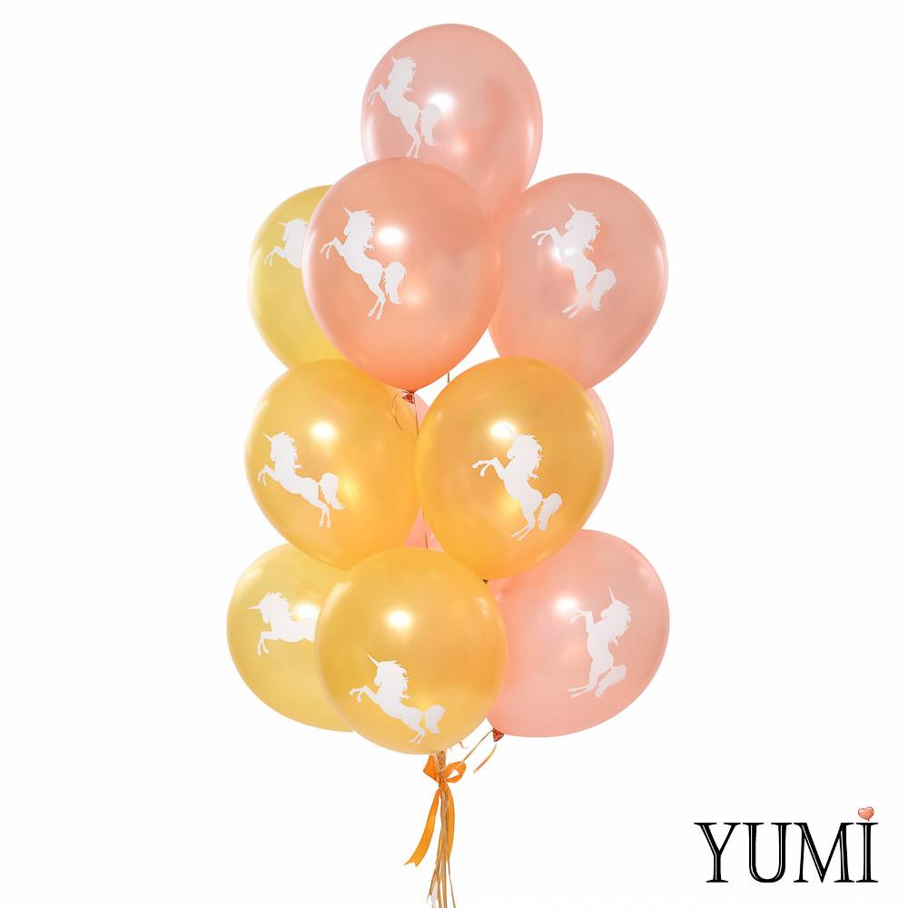 Связка: 7 розовых и 6 золотых шариков с белым единорогом