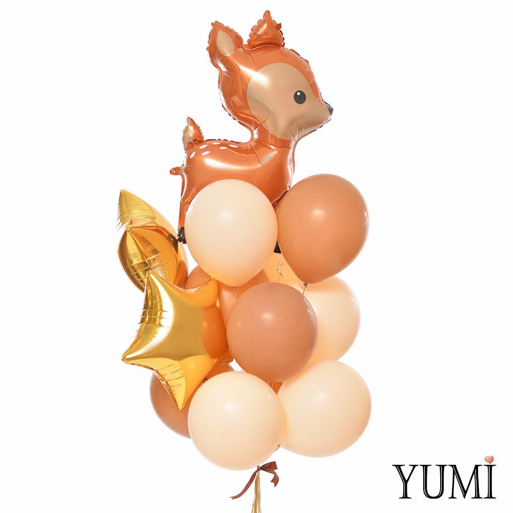 Связка: Олень, 2 золотых звезды, 5 кофейных и 5 телесных шариков