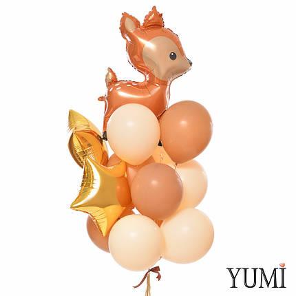 Связка: Олень, 2 золотых звезды, 5 кофейных и 5 телесных шариков, фото 2