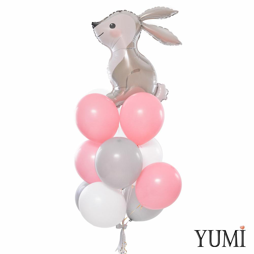 Связка: Кролик, 4 белых, 4 пудровых и 4 серых шарика