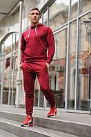 Спортивный костюм мужской весна-лето-осень (бордовая  худи + бордовые  штаны)