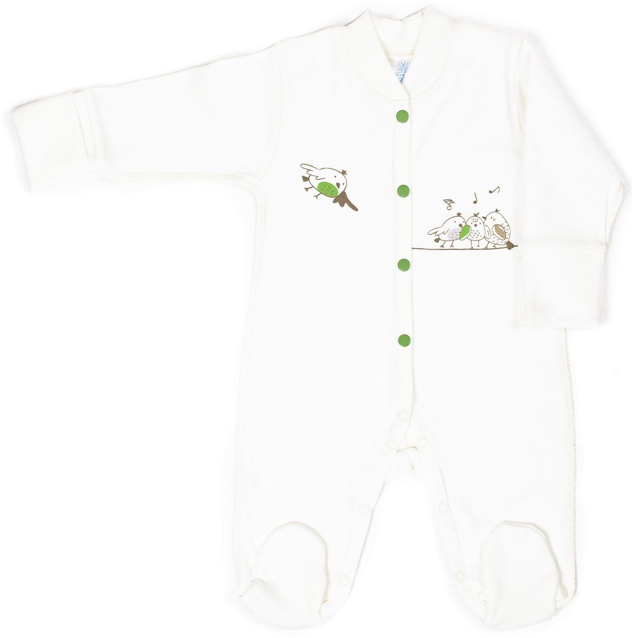 Комбинезон для новорожденных Верес Funy sparrows milk интерлок 56 молочный