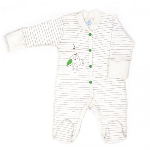 Комбинезон для новорожденных Верес Funy sparrows strip интерлок  молочный