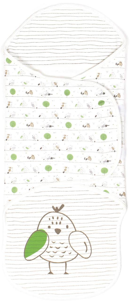 Пеленка-кокон на запах  Верес Funy sparrows интерлок 0-3 месяца молочный