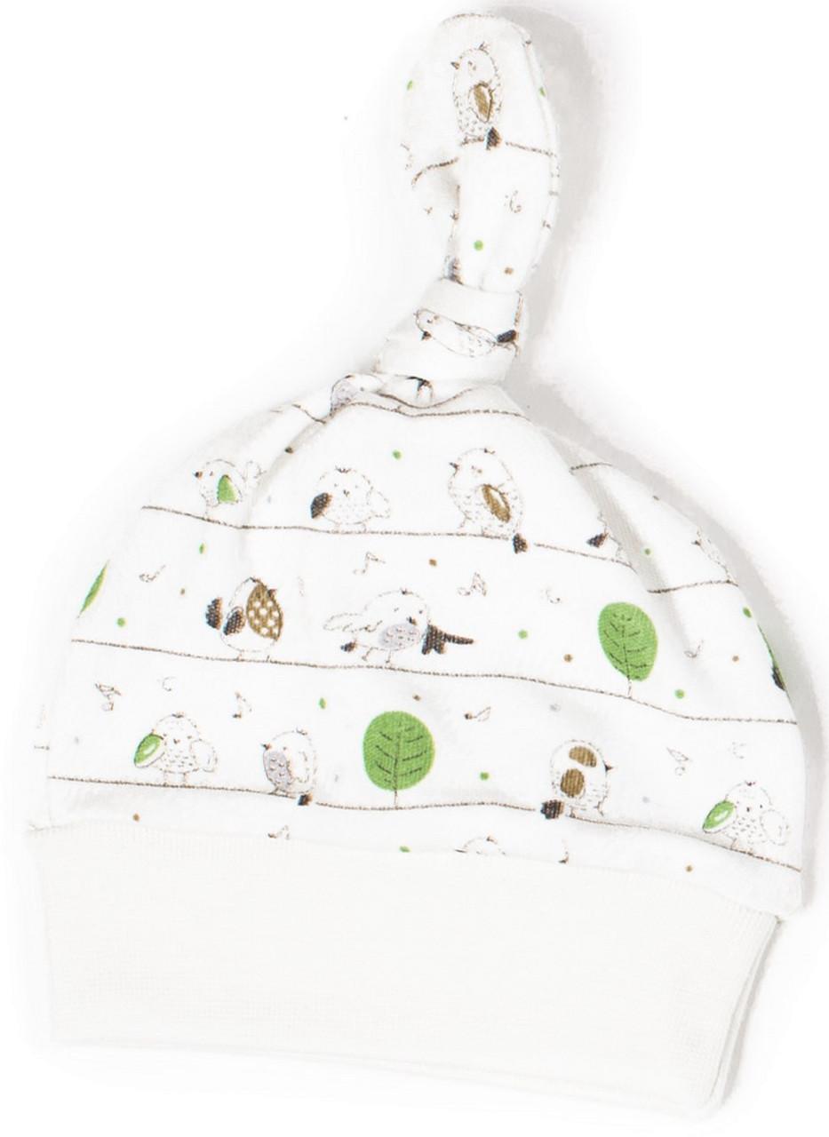 Шапочка-узелок Верес Funy sparrows интерлок 38 молочный