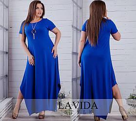 Женское платье в горошек длинное (50-64) темносиний и электрик э