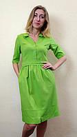 Летнее льняное зеленое платье с карманами П268, фото 1