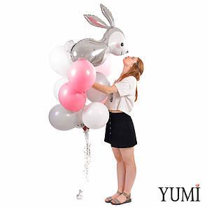 Связка: Кролик, 4 белых, 4 пудровых и 4 серых шарика, фото 2