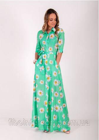 732df7d6e1e Женское длинное летнее платье в ромашки ZEAN 5403 - Интернет магазин