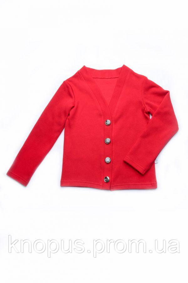 Трикотажный кардиган для девочки из селаника красный, Модный карапуз, размеры 116-134