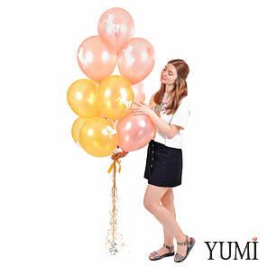 Связка: 7 розовых и 6 золотых шариков с белым единорогом, фото 2