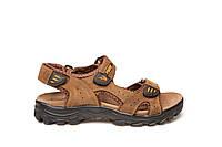 Сандали мужские кожаные летние спортивные босоножки повседневные 40 размер Restime 20117 l.brown 2021
