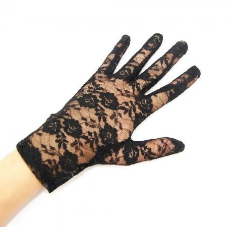 Перчатки гипюровые короткие (черные)