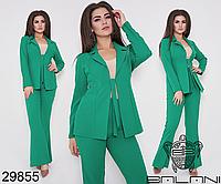 Костюм-двойка брючный большого размера цвет зеленый Размеры: 48-50, 52-54, 56-58