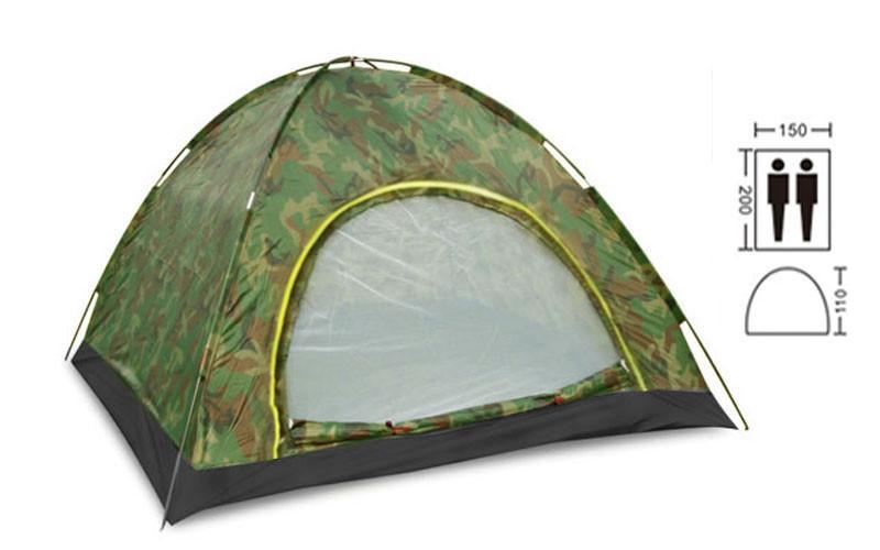 Палатка 2-х местная АВТОМАТ камуфляж SY-A-34-HG размеры 2х1,5х1,1м, палатка двухместная походная,туристическая