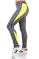 Лосины женские для спорта меланж+желтый, фото 1