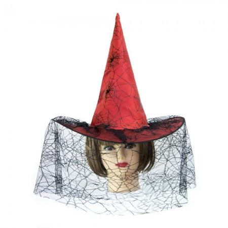 Шляпа Ведьмы с паутиной (красная)