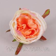 Головка Розы кремово-персиковая 8 см. Цветы искусственные