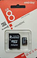 Карта памяти микро SDHC Smart Buy 8 гб класс 4 с адаптером