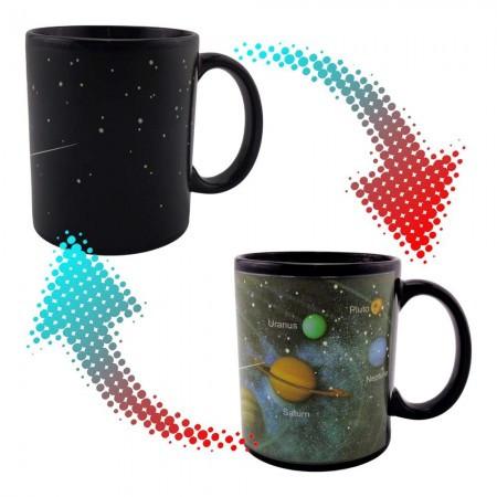 Кружка хамелеон с принтом Солнечная система