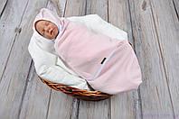 """Пеленки для новорожденных на липучках """"Капитоне"""" с шапочкой, нежно розового цвета, для деток 3-6 мес., фото 1"""