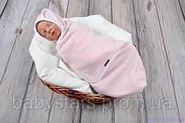 """Пеленки для новорожденных на липучках """"Капитоне"""" с шапочкой, нежно розового цвета, для деток 3-6 мес."""
