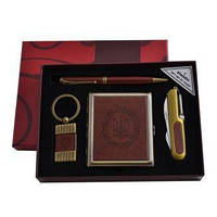 Набор подарочный  портсигар,нож,ручка,брелок кожа Украина YJ 6420