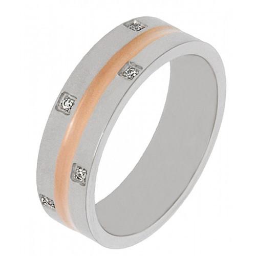 Женское кольцо из комбинированной медицинской стали 316L с циркониями