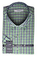 Рубашка VELS 35009-2 кл. XL салатово-синяя клетка