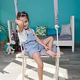 Маленькая деревянная подвесная качель 20*50см со сьемным сиденьем, качель для девочки, качелька, фото 2