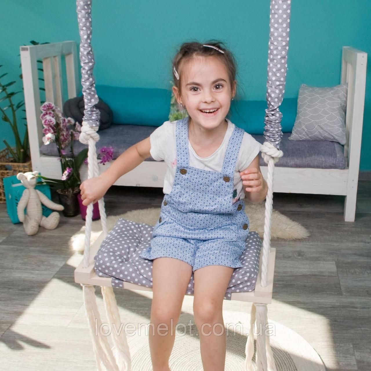Маленькая деревянная подвесная качель 20*50см со сьемным сиденьем, качель для девочки, качелька