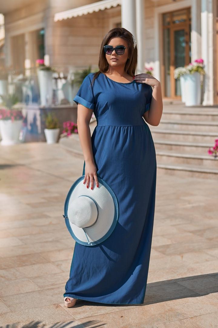 Женское платье с летнего джинса 50-54