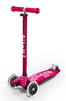 Самокат со светящимися колесами Micro Maxi Deluxe Pink LED