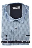 Рубашка мужская приталенная VELS 130/2 2XL голубой рисунок