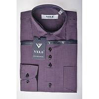 Рубашка VELS 9364/7 отд. дет. 3 сиреневая+чёрн. клетка