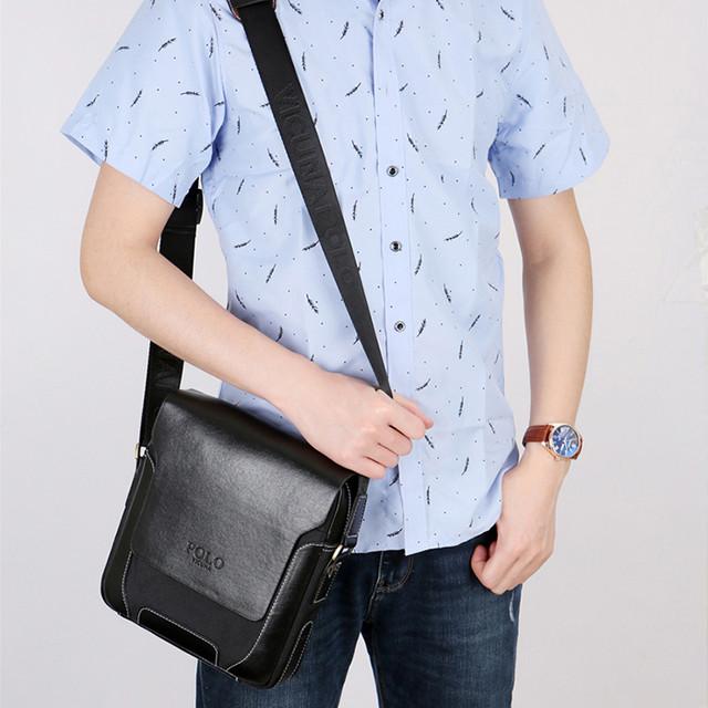 Мужская сумка мессенджер, барсетка через плечо POLO VICUNA V8837 черная