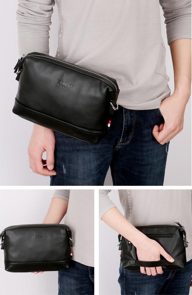 Мужская сумка мессенджер, барсетка через плечо POLO VICUNA V8845 черная