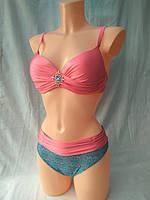 Купальник женский бежевый с красивыми цветными плавками нежно-розовый