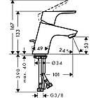 Однорычажный латунный смеситель для умывальника цвет хром Hansgrohe Focus E2 31730000, фото 2