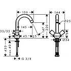 Двухвентельный латунный смеситель для умывальника цвет хром Hansgrohe Logis 71222000, фото 2