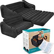 Надувной диван Intex 68566 раскладной со спинкой и подлокотниками для двоих 193 х 231 х 71 см