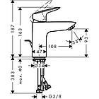 Однорычажный латунный смеситель для умывальника цвет хром Hansgrohe Logis 100 71100000, фото 2