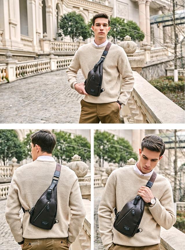 Мужская сумка слинг, кросс боди через плечо POLO VICUNA V9903