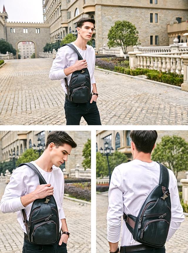 Мужская сумка слинг, кросс боди через плечо POLO VICUNA V9907 черная