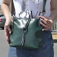 """Женская кожаная сумка """"Тринити Green"""", фото 1"""