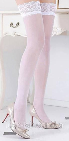Сексуальные, модные чулки с кружевной резинкой, белые