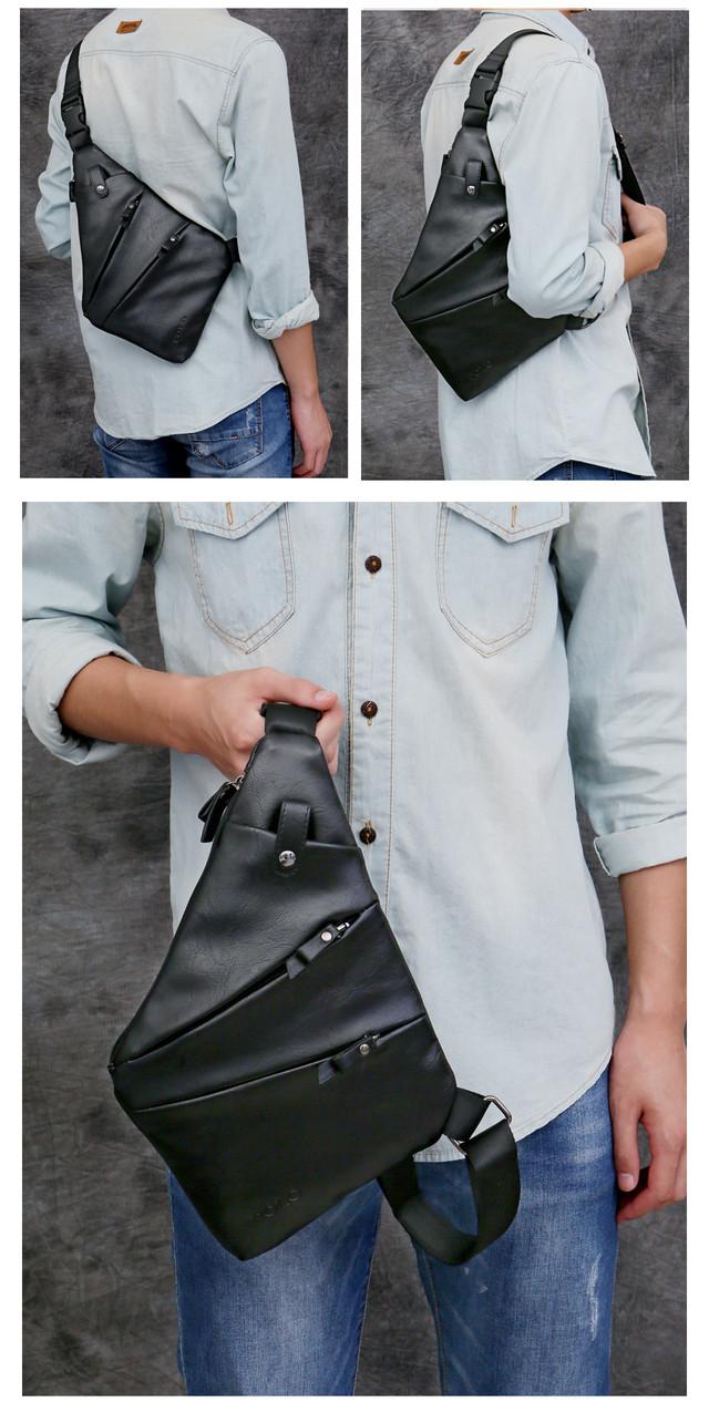 Мужская сумка слинг, кросс боди через плечо V9926 черная