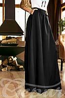 Расклешенная юбка макси с карманами черная