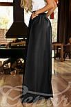 Расклешенная юбка макси с карманами черная, фото 2