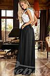 Расклешенная юбка макси с карманами черная, фото 3